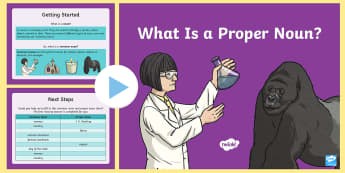 Proper Nouns KS2: What Is a Proper Noun? PowerPoint - what is a proper noun, proper noun, nouns, names, places, personal pronoun I, months, days of the we
