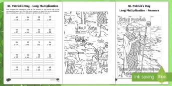 St. Patrick's Day Long Multiplication Colouring Activity Sheet - la feile padraig, Lá féile Pádraig, La Fheile Phadraig, lá le Phádraig, NI St. Patrick's Day Resources KS2, Saint Patrick, Naomh Pádraig, Colouring Page, Colouring Activi