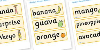 Handa's Surprise Word Cards - Handa's Surprise, Eileen Browne, resources, Handa, Akeyo, mango, guava, Africa, avacado, passion fruit, monkey, African animals, story, story book, story book resources, story sequencing, story resources, Word cards, Wor