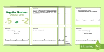 LKS2 Negative Numbers Challenge Cards - KS2, Maths, negative, positive, backwards, forwards, zero, calculate,whole numbers,