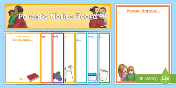 Parent's Notice Board Display Pack - Editable Parents Notice Board Pack - Parent Notice Board, Notice Board, Notice Display, Parents, Dis