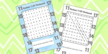 Numbers 11 20 Word Search - numbers wordsearch, wordsearch, maths wordsearch, mathematics wordsearch, numbers 11-20, maths word activity