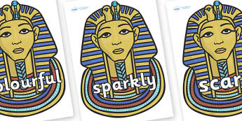 Wow Words on Mummy Masks - Wow words, adjectives, VCOP, describing, Wow, display, poster, wow display, tasty, scary, ugly, beautiful, colourful sharp, bouncy