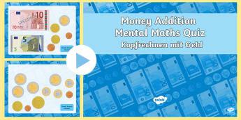 Euro Mental Money Addition PowerPoint English/German - money, europe, european union, currency, EAL, German, English-German