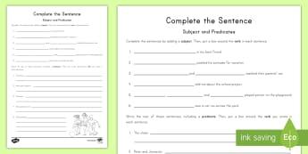Complete the Sentence Activity Sheet - Subject, Predicate, Complete Sentences, Sentence, Language, English, Noun, Verb, worksheet
