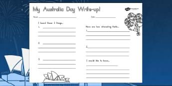 Australia Day Write Up Worksheet - worksheets, celebrations