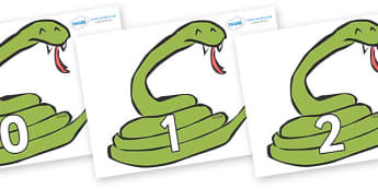 Numbers 0-31 on Snakes - 0-31, foundation stage numeracy, Number recognition, Number flashcards, counting, number frieze, Display numbers, number posters