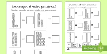 Ficha de actividad: Recortar y pegar - Valor posicional - ficha, valor posicional, decenas, unidades, mates, matemáticas, posición, cifras, Spanish
