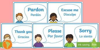Good Manners Vocabulary Display Posters US English/Spanish (Latin) - Good Manners Vocabulary Display Posters - Good manners, please, thank you, polite, excuse me, pardon