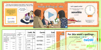 PlanIt Spelling Year 6 Term 3A W5: Words Ending in -ible Spelling Pack - Spellings Year 6, Y6, ible, able, ending, suffix, suffixes, spag, gps, spell, words, lists, weekly,