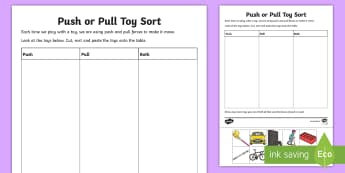 Push or Pull Toy Sort Activity Sheet - push and pull, forces, gravity, pulling, pushing, object movement, ACSSU033,Australia, worksheet
