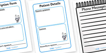 Hospital Forms - Hospital Role Play, hospital resources, people who help us, nurser, doctor, hospital, ward, bandages, role play, display, poster, forms