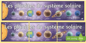Banderole d'affichage : Les planètes du système solaire - solar system planet display banner, Display Banner, French, les planètes du système solaire, plan