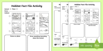 KS1 Animal Habitat Differentiated Fact File Activity Sheets - Mammal, Bird, Minibeast, Where, Live, Home, Writing, Non-fiction