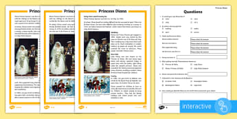 KS2 Princess Diana Differentiated Comprehension Go Respond  Activity Sheets - interactive, digital, biography, Princess of Wales, royal family, reading, fact file, research.