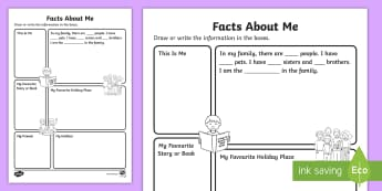 Year 1 Facts about Me Activity Sheet - back to school, first week back, kS1, all about me, information about me, worksheet