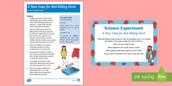 EYFS A New Cape for Red Riding Hood Science Experiment and Prompt Card Pack - EYFS, Early Years, Little Red Riding Hood, materials, science, investigation, waterproof, UtW, Under