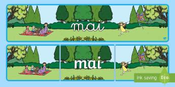 Banderole d'affichage: Mai - Les mois de l'année - mai, May, banderole, banner, display, panneau d'affichage, mois, months, year, année, cycle 1, cyc