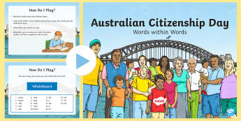 3-6 Australian Citizenship Day Words within Words PowerPoint - Yr 3, Yr 4, Australian Events, Yr 5, Yr 6, Australia, word work, activity