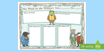 The Wind in the Willows Story Review Writing Frame - writing fame