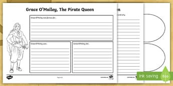 Grace O'Malley Mind Map Activity Sheets - Grace O'Malley, The Pirate Queen, SESE, Ireland, mind map, character,Irish
