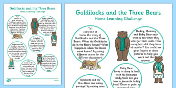 Goldilocks And The Three Bears Home Learning Challenge Sheet Reception FS2 - EYFS, homework, Early Years, fairytales, traditional stories, reception, foundation, parents