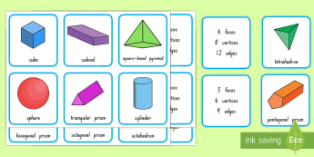 3D Shape and Properties Matching Cards - 3D shapes, geometry, maths