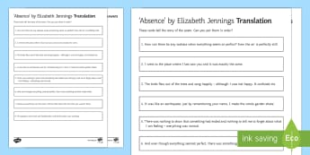 'Absence' by Elizabeth Jennings Translation Activity Sheet - The Movement, Time and Place, Edexcel Poetry, GCSE Poetry Anthology, poetry analysis, worksheet