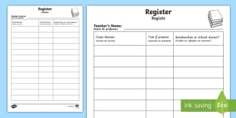 School Role Play Register English/Portuguese - School Role Play Register - School Role Play Pack, school role play, register, teacher, stickers, ce