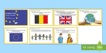 European Union Fact Cards English/Romanian -  EAL, Europe Day, EU, EEC, Europe, Brexit, European Economic Community, EU referendum, EU citizens,