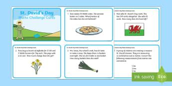 St David's Day Maths Challenge Cards - Dewi Sant (St David's Day 1.3.17),Welsh, maths, challenge, ks2, key stage 2, ca2, english medium.
