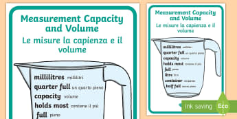 Measurement, Capacity and Volume Poster English/Italian - Key Stage 1 Measurement Capacity and Volume Poster - Measure, Volume, To measure, compare, add and s