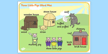 The Three Little Pigs Scene Word Mat - the three little pigs,  vocabulary mat, word mat, key words, topic words, word poster, vocabulary, themed word mat