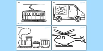 Modern Transport Colouring Sheets - Transport, colouring poster, colouring, fine motor skills, activity, car, van, lorry, bike, motorbike, plane, aeroplane, tractor, truck, bus