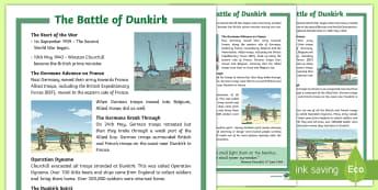 KS2 The Battle of Dunkirk  Differentiated Fact File - Dunkirk Spirit, Churchill, Nazi, Germany, World War 2, France, Belgium, Second World War, reading co