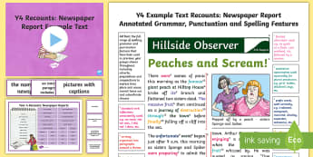 Y4 Recounts: Newspaper Report Example Text - genre, WAGOLL, exemplar, non-fiction, text, text features, SPaG, GPS, example, exemplifications, por
