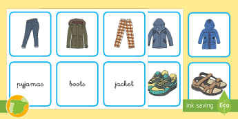 Tarjetas de emparejar: La ropa - Inglés - clothes, english, lengua extranjera, cards, matching, Spanish-translation