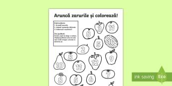 Fructe: Aruncă zarurile și colorează suma Activitate - adunare, scădere, matematică, jocuri, activități, ,Romanian