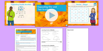 Expanding One and Two Brackets Lesson Pack - binomial, simplify, multiply, collect, terms, linear, quadratic, Bingo