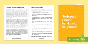 Hobson's Choice Notes for Study - brighouse, play, revision, help, guide