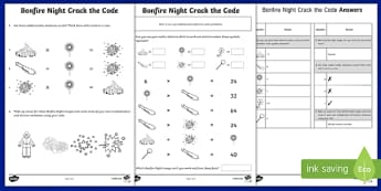 Bonfire Night Crack the Code Activity - bonfire night, crack the code, crack, code, activity, lesson, fireworks