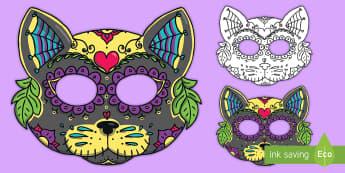 Cat Sugar Skull Mask - day of the dead, dia de los muertos, sugar skull, sugar skull cat, sugar skull mask, cat sugar skull