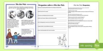 Dia dos Pais, atividade diferenciada de leitura e compreensão - dia do pai, dia dos pais, pai, pais, atividade, trabalhos manuais