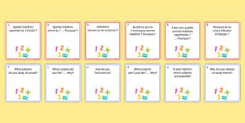 General Conversation Question Pair Cards My Studies - french, Conversation, Speaking, Questions, Studies, Education, School, Subjects, Éducation, École, Matière, Cards, Cartes