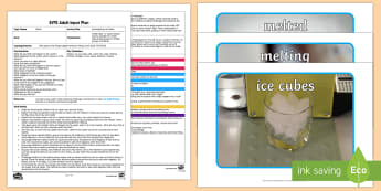 EYFS Investigating Ice Cubes Adult Input Plan and Resource Pack - EYFS, Early Years planning, water, water cycle, rain, rivers, sea, oceans, ice, materials, changing