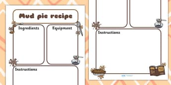 Mud Pie Recipe Writing Frame - mud pie, recipe, writing frame