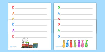 Fathers Day 'Dad' Acrostic Poem Templates - fathers day, fatehrs day acrostic poem, fathers day acrostic poem templates, dad, dad acrostic poem, dad poem