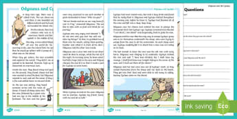 Odysseus and Cyclops Differentiated Reading Comprehension Activity - cyclops, odysseus, reading, differentiated, sen
