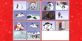 Story Sequencing Cards (4 Per A4) to Support Teaching on The Snowman - sequencing, story sequencing, stories, the snowman, snowman, snowman story sequencing, story, story resources, tells the story, reading, books, book
