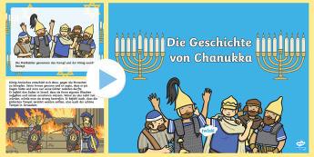 Die Geschichte von Chanukka PowerPoint Präsentation  - Hanukkah, Judentum, Juden, jüdisch, Religion, Religionsunterricht, ,German